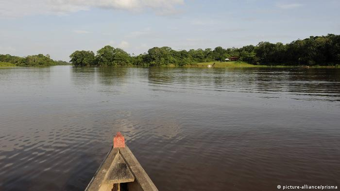 A boat on the river near the Colombian Amazon