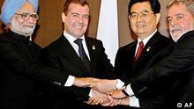 Manmohan Singh, Dmitry Medvedev, Chinese Hu Jintao, Luiz Inacio Lula da Silva,