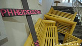 Benches blocking a stairway at Heidelberg University