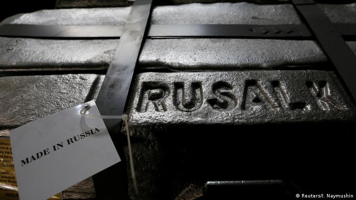 Aluminium ingots inscribed with the words Rusal (Reuters/I. Naymushin)