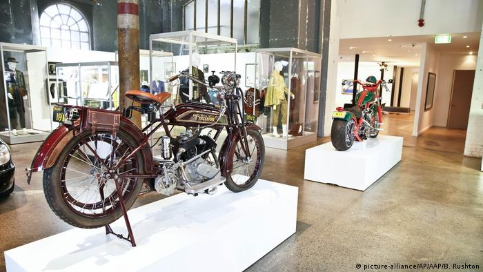 A 1917 500cc Precision motorcycle, owned by Russell Crowe, on display in the Carriageworks Arts Center