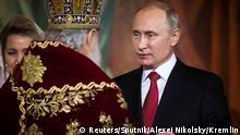 Russland Orthodoxes Osterfest Christ-Erlöser-Kathedrale in Moskau | Kyrill I. & Wladimir Putin, Präsident