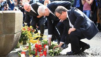 Deutschland Münster Attacke mit Campingbus | Gedenken Horst Seehofer & Armin Laschet (picture-alliance/dpa/M. Kusch)