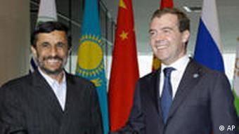 Iranian President Ahmadinejad and Russian President Medvedev