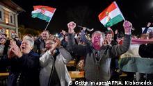 Ungarn Wahlen Orban Anhänger Wahlsieg Jubel