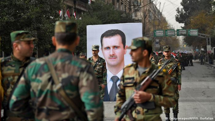 Aleppo Syrische Armeee Assad Poster (Getty Images/AFP/G. Ourfalian)