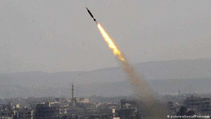 Ракета, выпущенная сирийской армией в Восточной Гуте