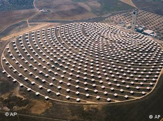 An aerial view of the kind of Solar plant which would be located in North Africa. This one is in Spain.