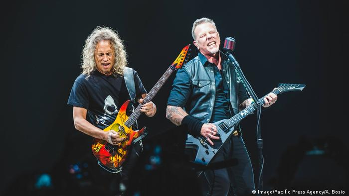 Metallica playing on stage during 2018 tour