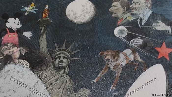 Космическая гонка СССР и США. Иллюстрация Клауса Энзиката