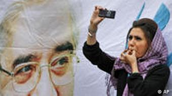 Woman in Iran with phone