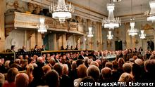 Guests attend the Swedish Academy's annual meeting on December 20, 2017 at the Old Stock Exchange building in Stockholm. / AFP PHOTO / TT News Agency / Jonas EKSTROMER / Sweden OUT (Photo credit should read JONAS EKSTROMER/AFP/Getty Images)