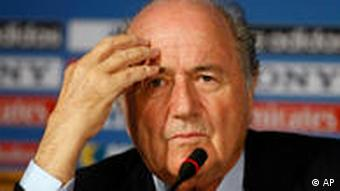 FIFA president Sepp Blatter at a press conference in South Africa