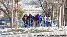 04.04.2018 +++ A group of refugees are seen walking near Erzurum city of eastern Turkey. Thousands of refugees enter from Iranian border to Turkey illegally. Refugees are passing the mountains in the border by foot and arriving to border cities Agri and Igdir in Turkey. Then they walk from Igdır to Erzurum city at eastern Turkey for a hope to reach Istanbul and for a final destination to Europe. Refugees are generally coming from Afghanistan. More than 3,000 Afghans travel this route by walking every day, while nearly 2,000 are sent back, reports Afghanistan's Ministry of Refugees and Returnees on april 6, 2018. Photo by Depo Photos/ABACAPRESS.COM |