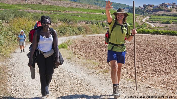 Two hikers Estella, Spain