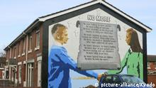 ©Kyodo/MAXPPP - 09/04/2018 ; Photo shows a mural promoting peace in east Belfast in Northern Ireland, on March 26, 2018. (Kyodo) ==Kyodo Foto: MAXPPP |
