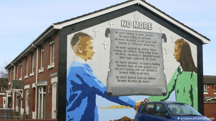 A mural promoting peace in east Belfast, northern Ireland