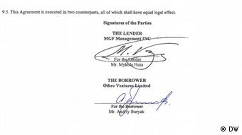 Подписи Гуты и Буряка под под одним из договоров о финансировании виллы