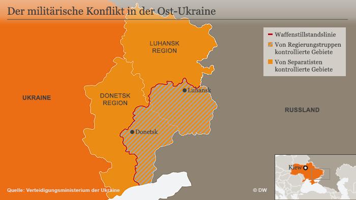 Infografik, Karte Englisch, Conflict in eastern Ukraine, ceasefire demarcation line DEU