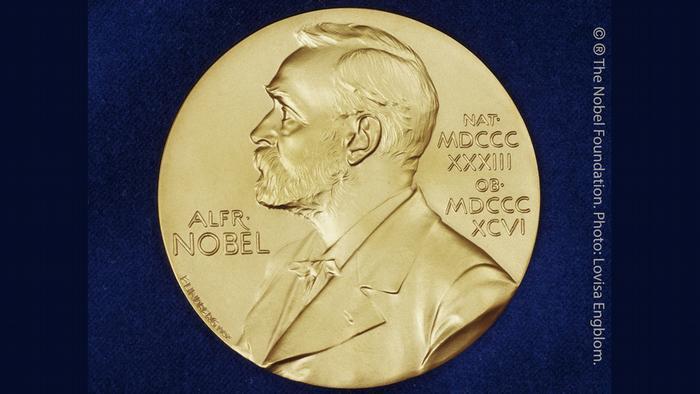 Nobelpreis - Medaille für Literatur, Physik, Chemie und Medizin