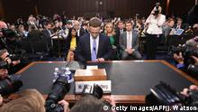 10.4.2018*** Facebook CEO Mark Zuckerberg arrives to testify before a joint hearing of the US Senate Commerce, Science and Transportation Committee and Senate Judiciary Committee on Capitol Hill, April 10, 2018 in Washington, DC. / AFP PHOTO / Jim WATSON / ALTERNATIVE CROP (Photo credit should read JIM WATSON/AFP/Getty Images)