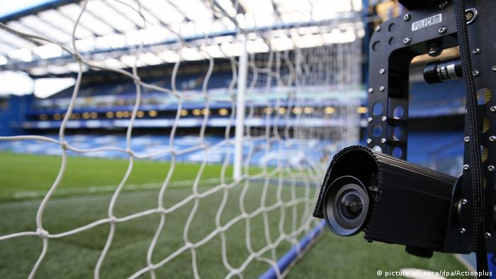 A camera on a football pitch