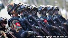 Myanmar miltary commandos stand in formation during the second day of 'Sin Phyu Shin' joint military exercises in Ayeyarwaddy delta region, on February 3, 2018. The two-day military exercise is the biggest since 1997, involving different armed forces divisions. / AFP PHOTO / POOL / LYNN BO BO (Photo credit should read LYNN BO BO/AFP/Getty Images)