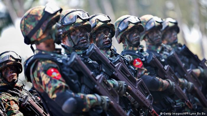 Myanmar military commandos taking part in a military exercise.