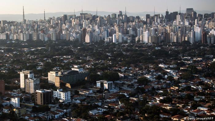 Aerial view of the Jardim Paulista neighborhood in Sao Paulo, Brazil