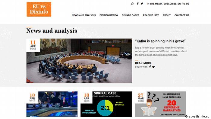 Screenshot euvsdisinfo.eu