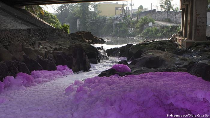 Purple suds in the Tullahan River in the Philippines