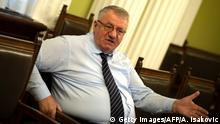 29.03.2018 *** In this photograph taken on March 29, 2018, Serbian Radical Party leader, Vojislav Seselj speaks during an interview with AFP in Belgrade. Vojislav Seselj has no remorse over his role in ex-Yugoslavia's wars. The ultra-nationalist says the idea of a Greater Serbia is as strong as ever. / AFP PHOTO / ANDREJ ISAKOVIC (Photo credit should read ANDREJ ISAKOVIC/AFP/Getty Images)