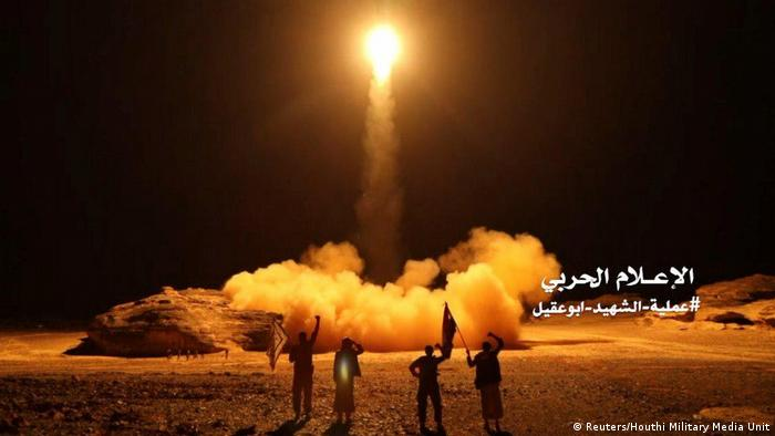 Houthi rebels seen launching a missile in March