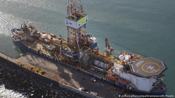 Drillship off the coast of New Zealand