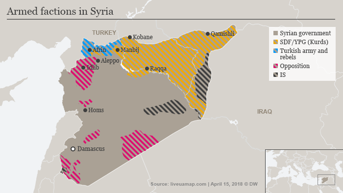 A map showing approximations of who holds which territory in Syria, as of April 11, 2018