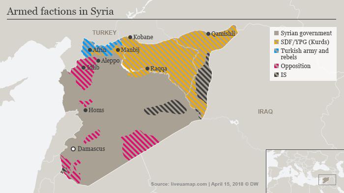 Karte Syrien kontrollierte Gebiete 11. April 2018 ENG