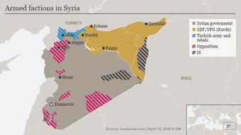 Karte Syrien kontrollierte Gebiete 15. April 2018 ENG