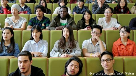 Foreign students at a university lecture hall in Zwickau, Saxony