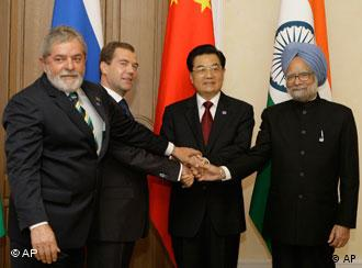 Brazilian President Luiz Inacio Lula da Silva, Russian President Dmitry Medvedev,Chinese President Hu Jintao and Indian Prime Minister Manmohan Singh, from left, pose for a photo at the first full-fledged summit of Brazil, Russia, India and China, collectively called BRIC, in the Ural Mountains city of Yekaterinburg, Russia