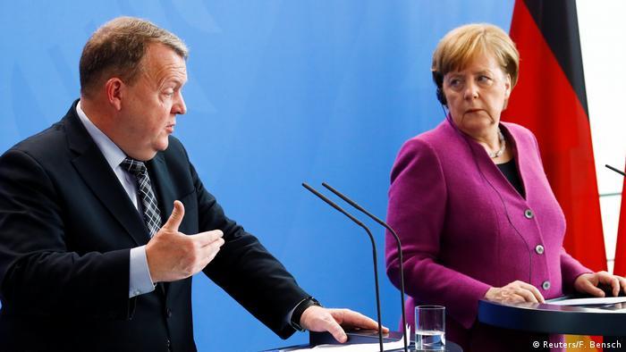 Chancellor Angela Merkel and Danish Prime Minister Lars Lokke Rasmussen in Berlin on April 12, 2018.