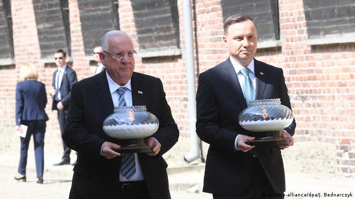 رویون ریولین (چپ) و آندره دودا، رئیسجمهوریهای اسرائیل و لهستان
