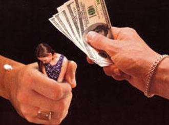 graphic of hands holding a woman and cash