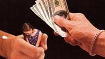 graphic showing woman in one hand and cash in the other