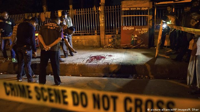 The site of the attack where Avijit Roy was hacked to death on February 26, 2015 (picture-alliance/AP Images/R. Dhar)