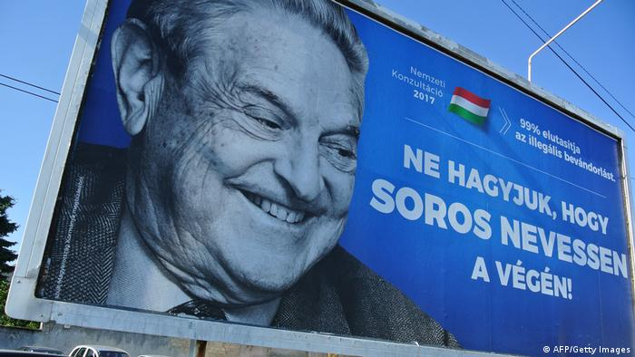 A Hungarian government poster depicting billionaire George Soros (AFP/Getty Images)