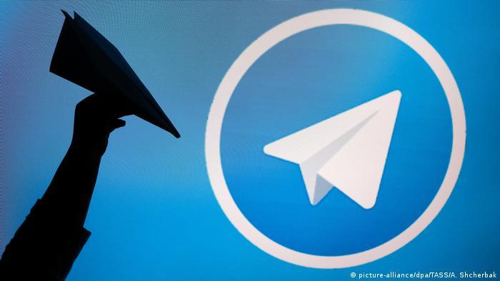 The logo of the Telegram messaging app