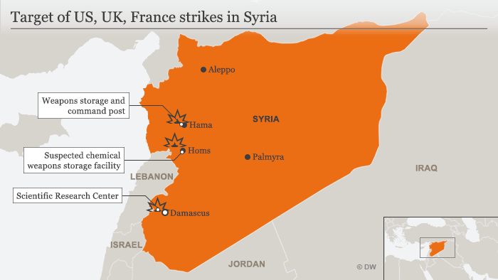 A map showing the areas targeted by US, British and French airstrikes