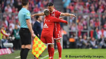 Wagner celebrates with Rafinha (Bongarts/Getty Images,)