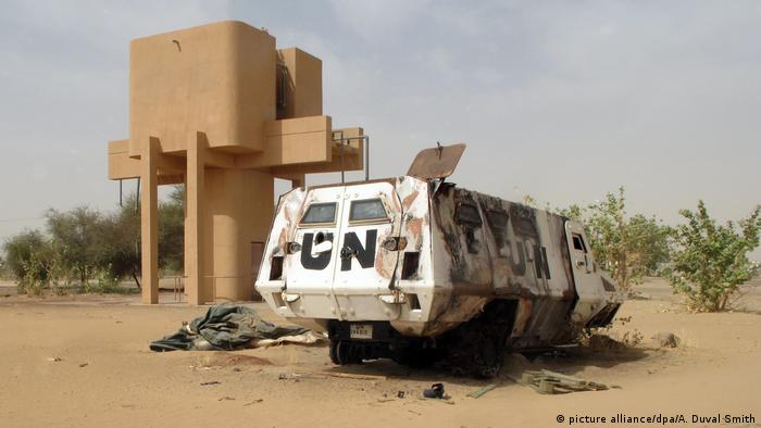 Wreck of an armored UN car