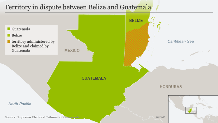 Map showing territory in dispute between Belize and Guatemala